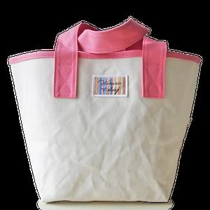 ハンドメイド1号帆布バケットトートバッグ(ピンク/キャンバス)