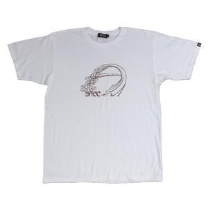 後染めプリントTシャツ:ホワイト