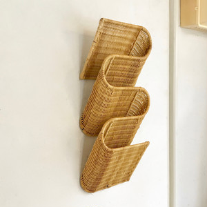 Vintage Rattan Wall Magazine Holder 60'sオランダ