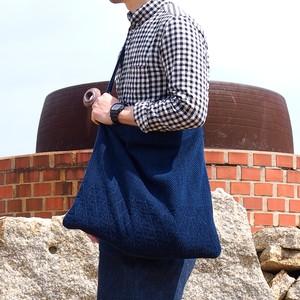 うしじま縫製   武州正藍染 ショルダーバッグ 大 二重刺子