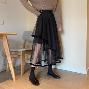 【ボトムス】ファッション膝下丈ハイウエスト不規則スカート45207764