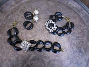 vintage bracelet black steel chain <STE-RB2/3>
