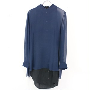 Acne / アクネ   Piece Silk GGT ドッキングシルクシフォンシャツ   36   ネイビー×ブラック