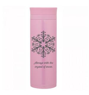 ステンレスカフェボトル500ml『snowflakes』ピンク