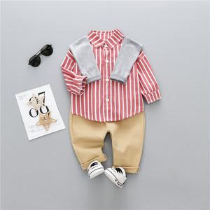 【子供服】ストライプ柄長袖カジュアル切り替えボーイズ2点セット22284794