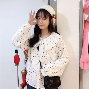 【tops】清新合成繊維ホワイトリボンシャツ17243604