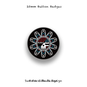 25mm Button Badges / Sun Face Skull Design 005