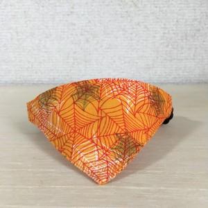 ★ハロウィンに★蜘蛛の巣柄オレンジ 猫用バンダナ風セーフティ首輪