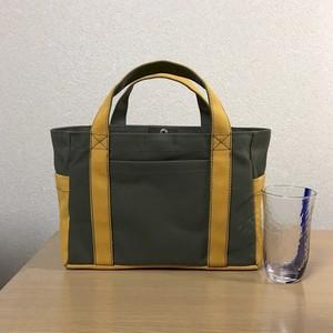 (受注生産)「ポケットトート」小サイズ「オリーブ×マスタード」倉敷帆布8号