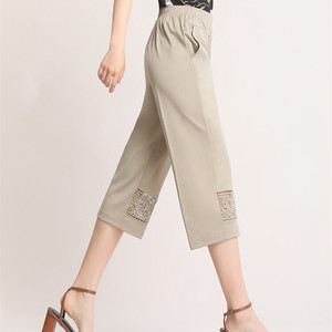 【ボトムス】優しい雰囲気ファッション透かし彫り7分丈無地ハイウエスト44420483