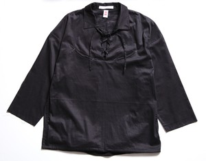 CC RACE UP L/S SHIRTS-BLACK