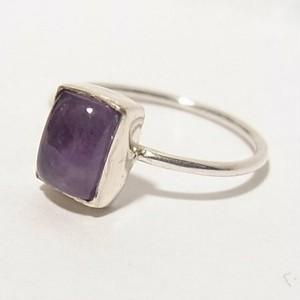 天然石シルバーリング アメジスト(紫水晶)のリング size10.5  4736SR