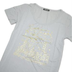 Tシャツ レディース 半袖  グレー地に夜景とロゴ:ゴールド Lサイズ 【ゆうパケットOK】3枚まで可 [170021]