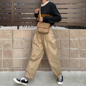 high waist tuck chino 【beige】【unisex】