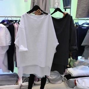 【トップス】カジュアル五分袖ラウンドネックプルオーバーTシャツ