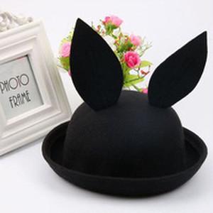 ウサギ帽子 ブラック 3〜8歳向け
