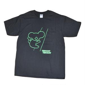【セール中】【トゥナイトトゥナイト】コアラTシャツ(黒×蛍光グリーン)