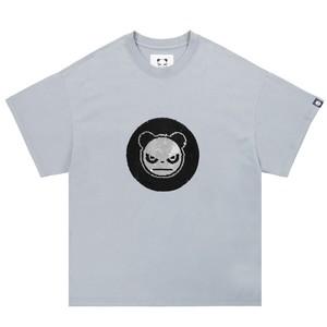 【HIPANDA】メンズ Tシャツ MEN'S 2WAYS HIPANDA LOGO SEQUINS SHORT SLEEVED T-SHIRT / GRAYISH BLUE