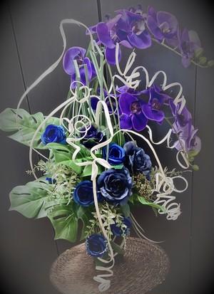 【no-110】紫の胡蝶蘭と青の薔薇