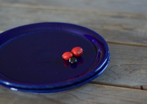 陶器のケーキ皿(瑠璃)