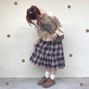 レトロカラーミディアムボタンスカート