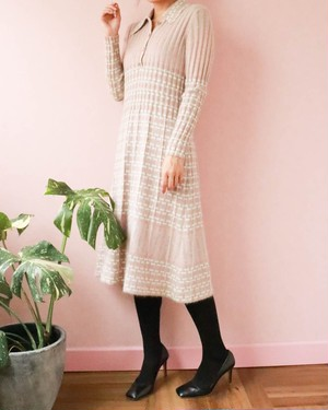 60's made in France knit dress