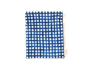 ハリネズミ用寝袋 M(夏用) 綿リップル×スムースニット チェック ブルー
