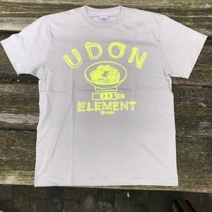 かせきさいだぁ UDON ELEMENT Tシャツ ストーングレーxネオンイエロー