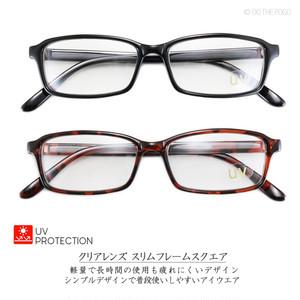 伊達メガネ クリアレンズ スクエアサングラス C 軽量メンズ レディース カジュアル メンズファッション 四角 四角い眼鏡 UV
