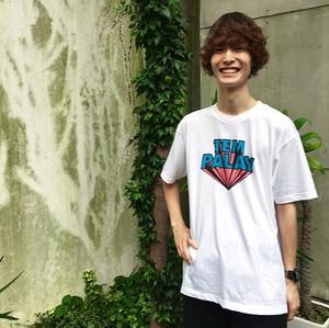 ロゴTシャツ(水色×ピンク)