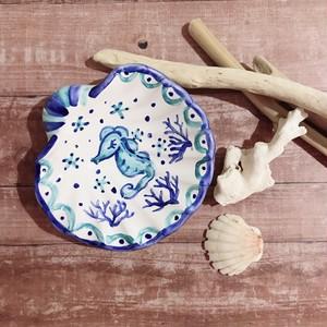 マヨリカ焼き シェル型トレイ タツノオトシゴ