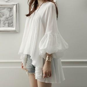 【tops】ランタンスリーブ不規則な裾フェアリーシフォンシャツ 22557985