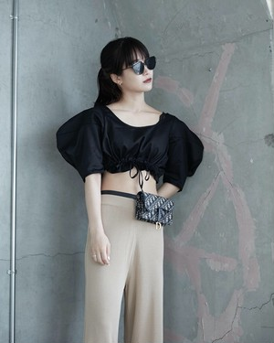 STRETCH  WIDE PANTS(BLACK / BEIGE)