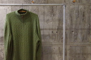 Cashmere halfzip cable knit(USED)