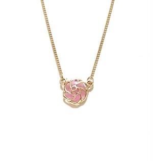 ピンククリスタル☆バラのネックレス ゴールド お花