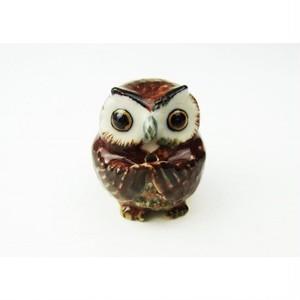 焦げ茶色フクロウの香立て att506f-1710