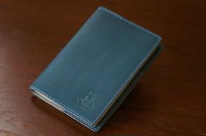 手縫いの文庫用ブックカバー(革色:ブルー)【受注生産】【送料込み】