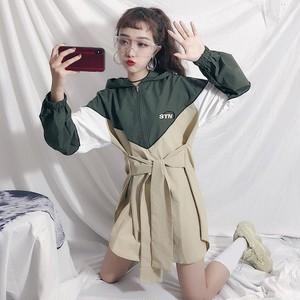 【ワンピース】ファッション切り替えフード付き長袖ワンピース