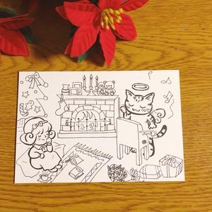 ぬりえポストカード 冬の楽しみ