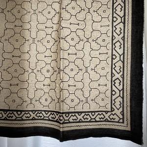 大判 40白 155x160cm AAA アマゾンの泥染め シピボ族 天然染め 飾り模様 シンプル