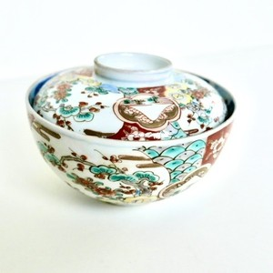 [NO.HM007]伊万里 おめでたいお茶碗蓋つき 江戸/ Kutani Bowl With A Lid /Edo 【21016】