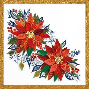 2020秋冬新作【Paperproducts Design】バラ売り2枚 ランチサイズ ペーパーナプキン Christmas Poinsettia ホワイト