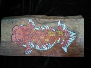 金魚~らんちゅう~のガラスタイルの和風オブジェ