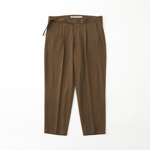 TWILLED JERSEY 1TUCK PANTS - BROWN