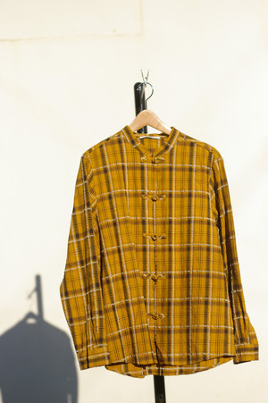 Men's / CHECKED SHIRT of Chinese strap