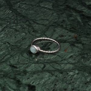 SINGLE MINI STONE RING SILVER 008