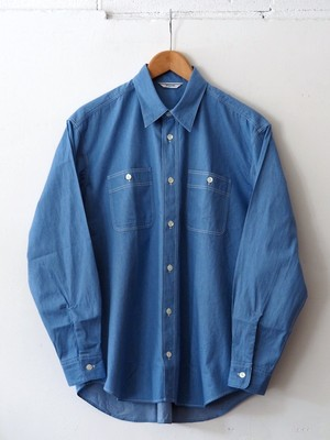 FUJITO B/S Work Shirt Light Indigo,Indigo Blue