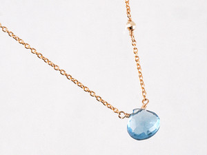 14KGF London Blue Topaz Mirror Necklace