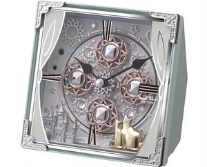 30曲のメロディーとからくりがかわいい 猫モチーフからくり置時計 スワロフスキーエレメントがおしゃれ