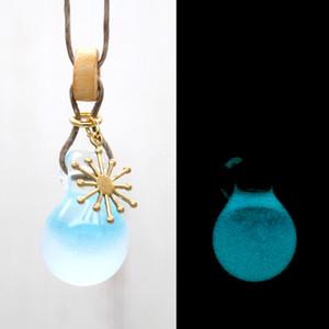 【BASE Mag.掲載商品】よあそび硝子 暗闇でふわっと光る ガラスのしずくペンダント:青 水色 海 太陽 白砂  アクセサリー ハンドメイド